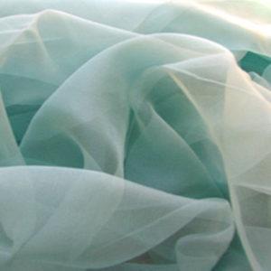 Silkechiffon, lys grønlig aqua (krepp) 5 m