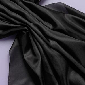 Pongee silke 136 cm - 28 g/m, svart